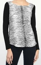 NEW XL 14-16 NYDJ ZEBRA Striped Top/Tee L/S MADE USA Blk & White Pullover Blouse