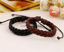 Mens 100% Real Leather Plaited Surfer Wristband Bracelet Braided Bracelet Bangle