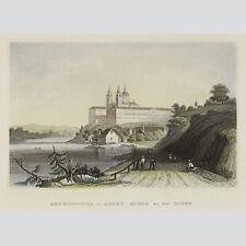 Benedictiner-Abtey Moelk an der Donau. Kolorierter Stahlstich m 1850.