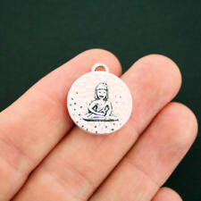 5 Buddha Pendant Charms Antique Silver Tone 2 Sided  - SC6239 NEW2