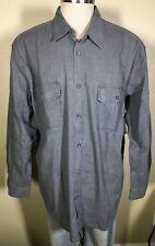 Basic Editions Long Sleeve Crosshatch Gray 100% Cotton Shirt Men's 2XL NWT