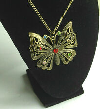 Vintage estate jewelry huge rhinestones butterfly pendant necklace!
