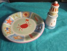 4 ENESCO CHALLIS & ROOS NAUTICAL PLATES AND SALT AND PEPPER -- 1999 -- NOS
