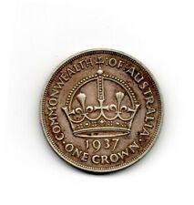 1937 Australian crown 92.5% silver coin