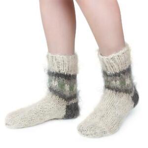Mens 100% Wool Socks Sheepskin Sheep Soft Fuzzy Warming Knitted Handmade Winter