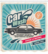 Car Wash Auto Service Repair Poster Image Vintage Artprint Shower Curtain Set