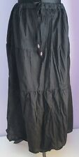 VTG Ladies WHITE STAG Black Tiered Lined Indian/Hippy Midi Skirt Size 16-18 (170