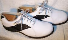 FootJoy GreenJoys 8.5M White Leather & Black Saddle Golf Shoes