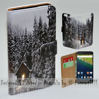 For Google Pixel Series Mobile Phone - Snow Forest Print Flip Case Phone Cover