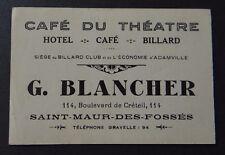 Carte de visite Café du théâtre SAINT MAUR DES FOSSES billard club visit card