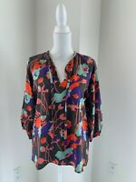 Tucket Taupe Gray Floral Silk Tie Neck Blouse Top SZ M