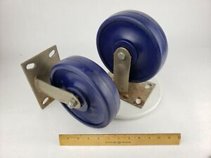 "2x Industrial 8"" Heavy Duty Caster Wheel Fixed Polyurethane Non- Swivel Rubber"