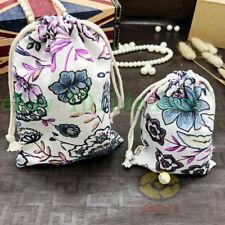 """12PCS Cotton White w/Colorful Lotus Pattern Jewelry Drawstring Bag Pouches5.5x4"""""""
