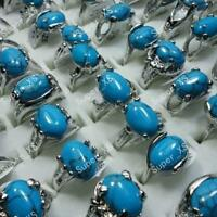 5pcs Wholesale Jewelry Lots Fashion Silver Plated Turquoise Rings