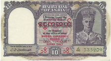 More details for rae reserve bank of india ten rupees unc with minor punch hole red overprint