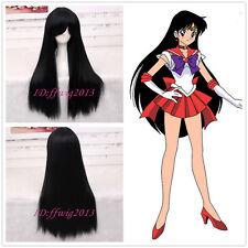 Sailor Moon Sailor Mars 75cm Long Straight Black Anime Cosplay Wig +a wig cap