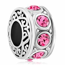 Filigree Birthstone Pink October Crystal Bead Pandora Charms Bracelet Jewelry