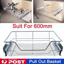 Pull out Pantry Drawer Basket Wire Slide Roll Cabinet Kitchen Cupboard for 600mm