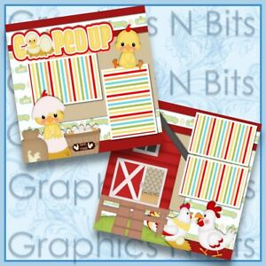 "COOPED UP 12""x12"" Printed Premade Scrapbook Pages"