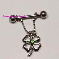 Green Jewelled 4 Leaf Clover Nipple Dangle Shield Bar Ring