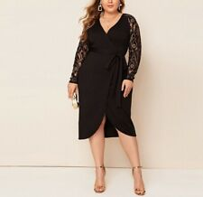 Plus Size Black Contrast Lace Raglan Sleeve Dress