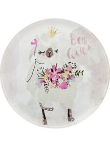 Tin Sign Be The Queen Lovely Llama I Decorative Tin Plate White 28x28cm