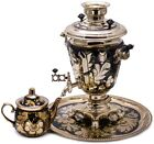 Electric Samovar Teapot Tray US Compatible 110 V Rooster Hand Painted