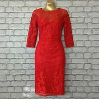 BNWT LIPSY KIM KARDASHIAN UK 8 RED  3/4 SLEEVE LACE DRESS BODYCON