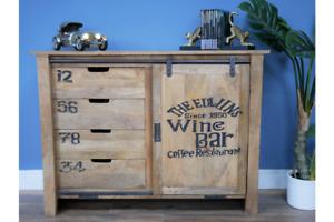 Industrial Retro Mango Wood & Iron Storage Cabinet