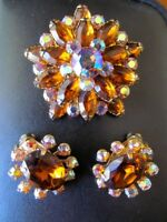 Vintage Juliana D&E Topaz-Aurora Borealis Rhinestone Brooch/Earrings Demi Parure