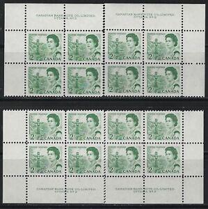 CANADA - #455 - 2c QUEEN ELIZABETH II CENTENNIAL ISSUE PLATE #2 BLOCKS SET MNH
