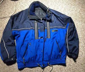 BOGNER ACTIVE Goan Thylmann Men's Ski Jacket HOOD SZ 40 L-XL BLUE GOGGLE POCKET