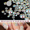 1440pcs Glass Crystal AB Flat Back Rhinestones SS4-SS40 Nail Art Tips Decals