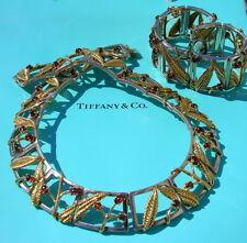 Tiffany & Co. 18kt Yellow Gold, Silver & Garnet Necklace & Bracelet Suite