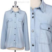 Women's Denim Button Down Long Sleeve Boy Friend Shirt Cotton Top S M L