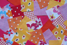 """100 x 4"""" Fabric Remnant Bundle patchwork squares~Bright Collection~Craft"""