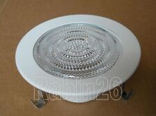 "4"" INCH RECESSED CAN LIGHT 12V MR16 SHOWER TRIM CLEAR GLASS LENS WHITE RING"