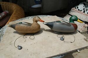 2 VINTAGE CARVED WOOD DUCK DECOY nice PAINT WITH WEIGHT