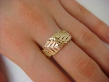 10K TWO TONE GOLD LEAF MOTIF BAND-RING 4.7 GRAMS SIZE 10