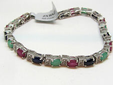 11.69ct ruby, blue sapphire and emerald bracelet in sterling silver