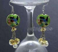 SALE 18mm Round Green Cloisonne & 6-7mm White Natural Pearl Dangle earring-ea527