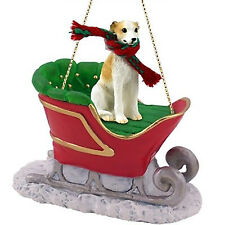 Conversation Concepts Whippet Tan & White Dog Sleigh Dog Holiday Ornament