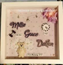 Unique Personalised New Baby gifts info box frame. Christening Birthday