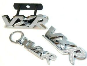 Chrome & White Badge & Keyring Set For VXR Models Tailgate Grill Upgrade