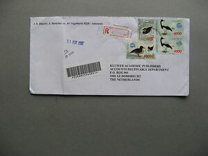 INDONESIA, R-cover to the Netherlands 2002, high values pair bird duck
