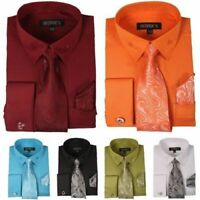 Men's High Quality Fashion Dress Shirt With Tie&Hanky French Cuff Links 6 Colors