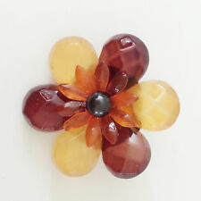 New Citrine Orange Double Flower Accessory Good Fortune Brooch Pin BR1469A Gift