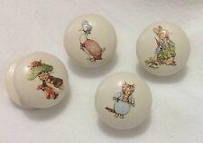 Handpainted Beatrix Potter Peter Rabbit Large Cream 2 Inch Drawer Knobs x 4
