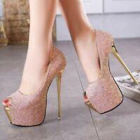16CM Womens Peep Toe Stiletto High Heels Pumps Sandals Wedding Party Shoes Show