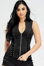 New Women Black Zip Up Tie Stretch Sexy/Biker Corset Halter Top Sizes S-M